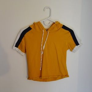Charlotte Russe Mustard Yellow Cropped Hoodie